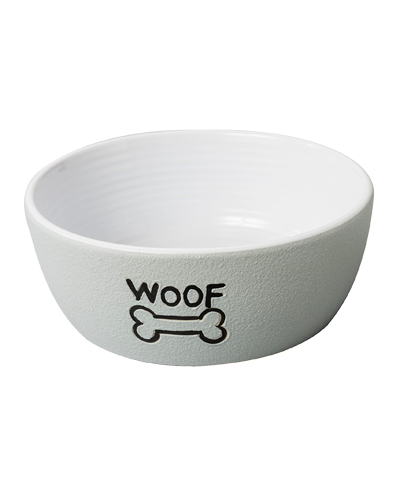 Picture of Ethical Grey Nantucket Woof Dog Stoneware Dish