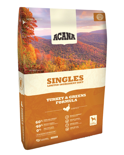 Picture of Acana Singles Limited Ingredient Diet  with Fresh Free-Run Turkey and Kentucky Greens - 25 lb.