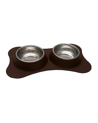Picture of Loving Pets Dolce Bone Shaped Flex Diner Small - Chocolate