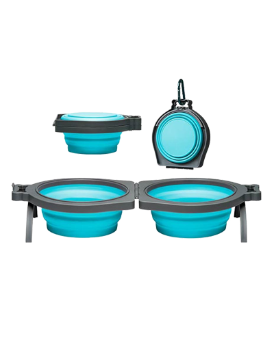 Picture of Loving Pets Bella Roma Travel Double Diner Bowl Medium - Blue