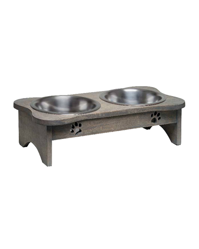 Picture of Loving Pets Black Label Collection Wooden Modern Double Diner 2 Quart