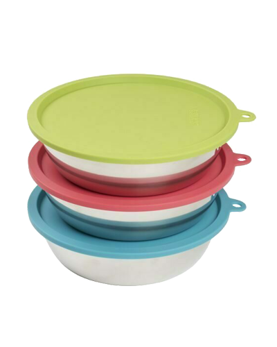 Picture of Messy Mutts 6 pc Set with 3 Stainless Steel Bowls & 3 Silicone Lids - Medium 1.5 Cups Each