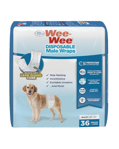 Picture of Four Paws Wee Wee Disposable Male Wraps -Medium/Large 36 Count