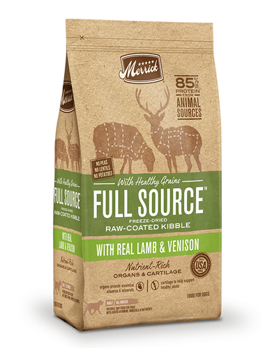 Picture of Merrick Full Source with Healthy Grains Raw-Coated Kibble with Lamb & Venison - 4 lbs.