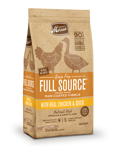 Picture of Merrick Full Source Grain Free Raw-Coated Kibble with Chicken & Duck - 20 lbs.