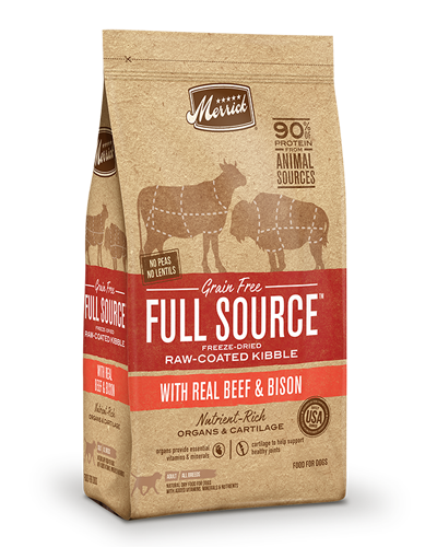 Picture of Merrick Full Source Grain Free Raw-Coated Kibble with Beef & Bison - 20 lbs.