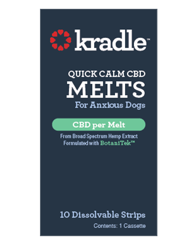 Picture of Kradle Chicken Flavor Quick Calm CBD Melts for Small Dogs (10-25 lbs) - 10 Dissolvable Strips