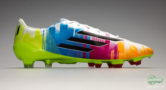 030165ebbf2c It truly is an explosion of colours on Leo Messi's new Adizero football  boots, where Adidas have been inspired by the Samba Pack.