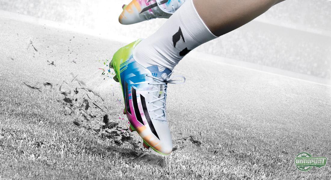 f5507d351e2 Den nye Messi fodboldstøvle er lavet med en overdel af Hybridtouch på hele  overdelen, og således er der ikke noget Speedfoil i hælen som på en normal  ...