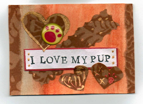 I Love My Pup by New End Studio blog and shop Mixed Multi Media Collage ACEO