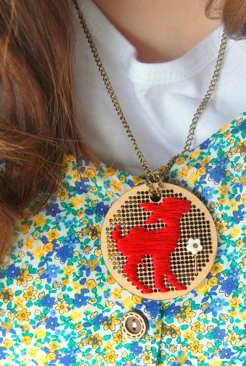 stitchery wooden pendant