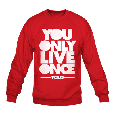 Product - YOLO Crewneck - You Only Live Once - YOLO - Red by ...