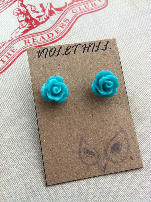 Turquoise Rosebud Earrings