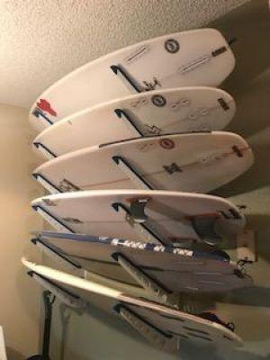 Adjustable Metal Surfboard Wall Rack   4 Boards