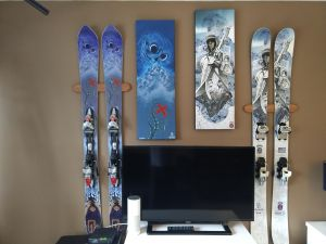 Indoor Ski Display Wall Rack | Solid Cherry Wood