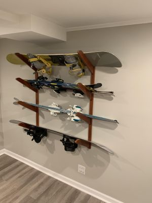 Timber Snowboard Wall Rack   Solid Oak   Holds up to 4 Snowboards