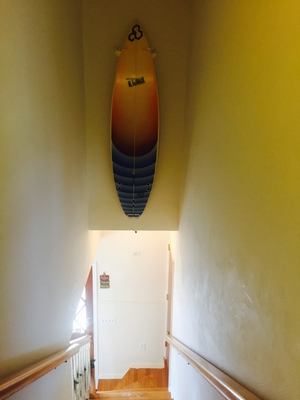 Vertical Surfboard Display Rack | Clear Acrylic Wall Mount