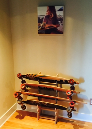 Standing Wood Skateboard Rack | 9 or 20 Skateboards
