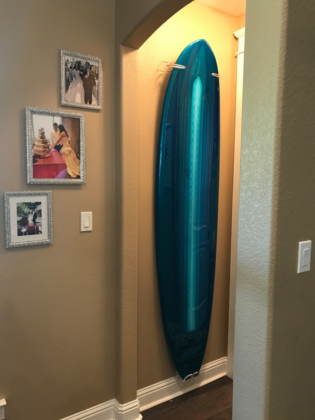 and surf house triple rack wall pin storage cor ideas surfboard