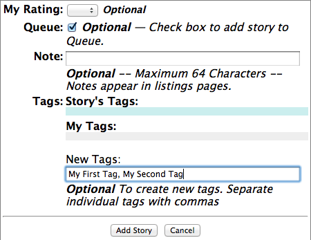 Typing tags into the form.