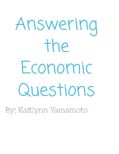 Answering the Economic Questions Storybook Cover
