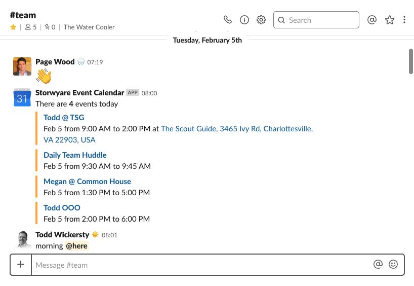 Slack and Google Calendar Integration