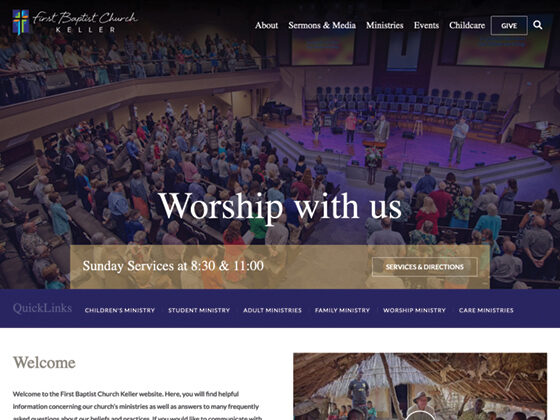 Fist Baptist Church Keller Responsive Website Design - Antistatic Design