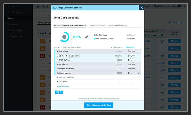 image of StratiFi's hedging tools for advisors software