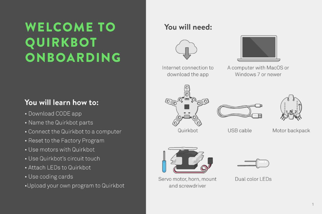 "Get started with the <a href=""https://s3.amazonaws.com/strawbees-learning-cms-stage/wp-content/uploads/2020/03/30124231/quirkbotonboarding.pdf"">Quirkbot Onboarding Guide</a>."