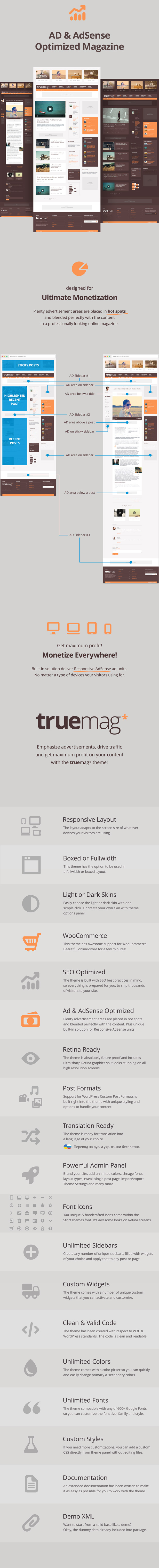 Truemag - AD & AdSense Optimized Magazine WordPress Theme