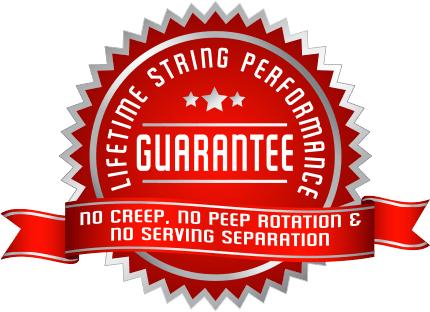 Winners Choice Lifetime String Performance Guarantee: no creep, no peep rotation, and no serving separation