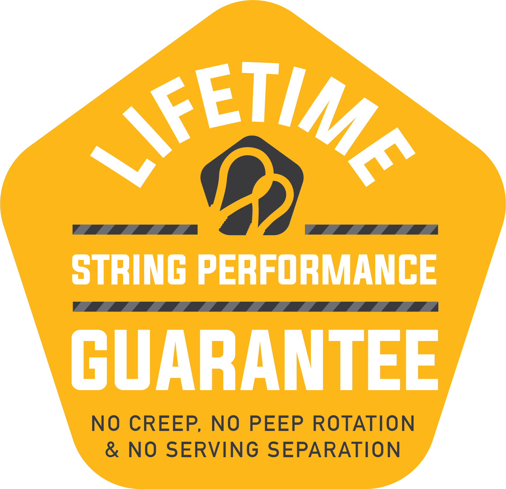 Winners Choice Lifetime String Performance Guarantee: no creep, no peep rotation, and no serving separation