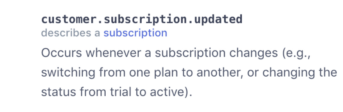 Customer Subscription Updated Webhook Description