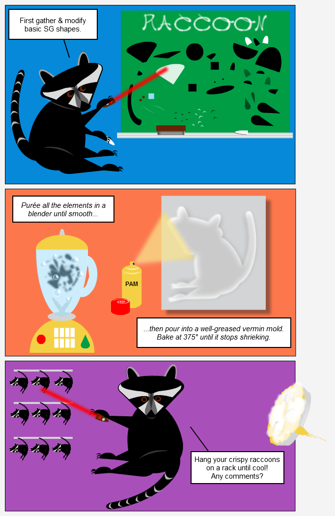 Infographic tutorials by a raccoon