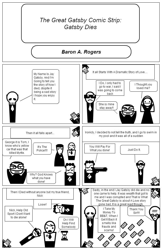 Stripgenerator com - The Great Gatsby Comic Strip: Gatsby Dies!
