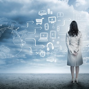 business generic image with pictures in clouds