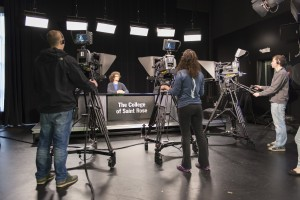 bachelor of arts in communications college students in TV studio
