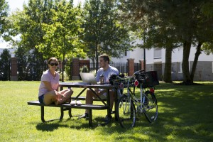 Students on the campus green