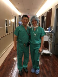 Liana & Dr. Suh prepped for a procedure