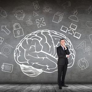 Forensic Psychology Major - man thinking in front of brain background