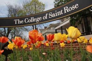 college-of-saint-rose-colorful sign with tulips