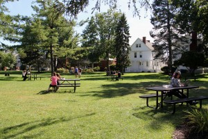 Campus Green with picnic tables