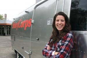 Erika Romero '14 poses with the StoryCorps Mobile Tour.