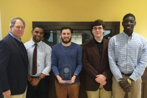 The College of Saint Rose 2016 Fed College Challenge team: (L-R) Charles Murray, instructor of economics; Ahmed Diarra, junior; Andre St. Louis, junior; Cody Snyder, freshman; Andrew Castro, sophomore.