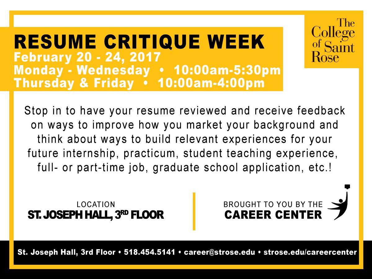 resume critique week