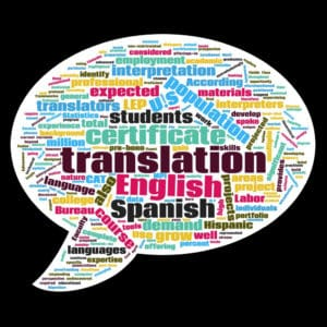 Spanish to English Translation Certificate Word Bubble