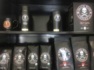 Death Wish Coffee bags and travel mugs