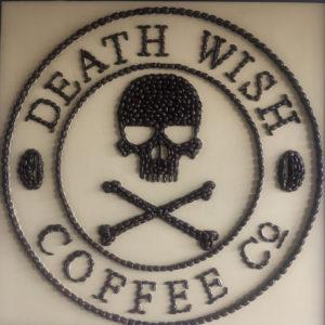 Coffee bean art at Death Wish Coffee