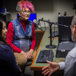 Winkler Center Clinic staff working with a transgender woman on voice modification at clinic
