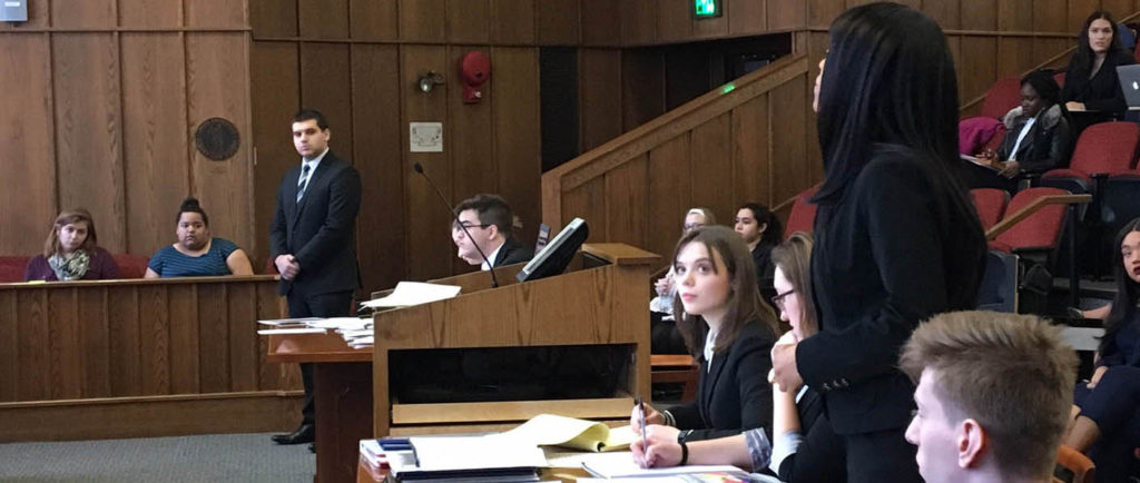 Saint Rose students participate in a mock trial scrimmage